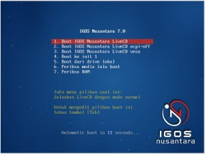 IGOS Nusantara 7 LiveCD Boot Menu